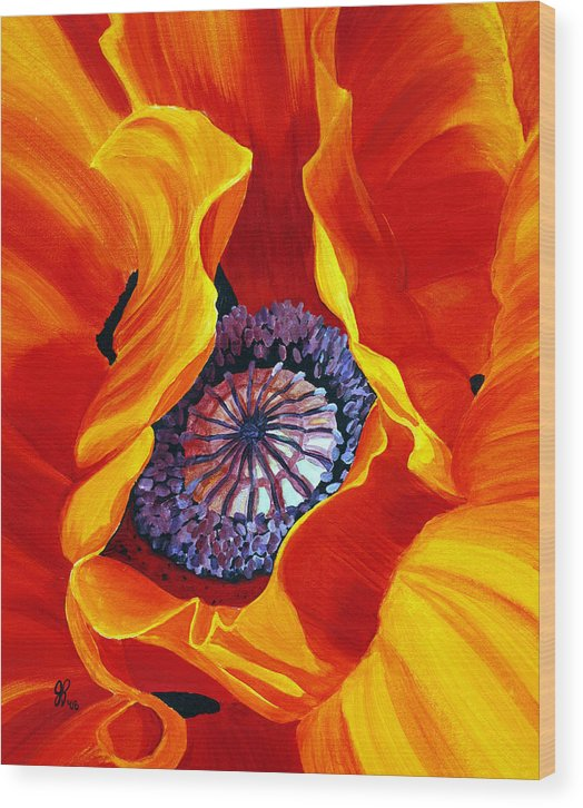 Macro Flower Wood Print featuring the painting Bee by Julie Pflanzer