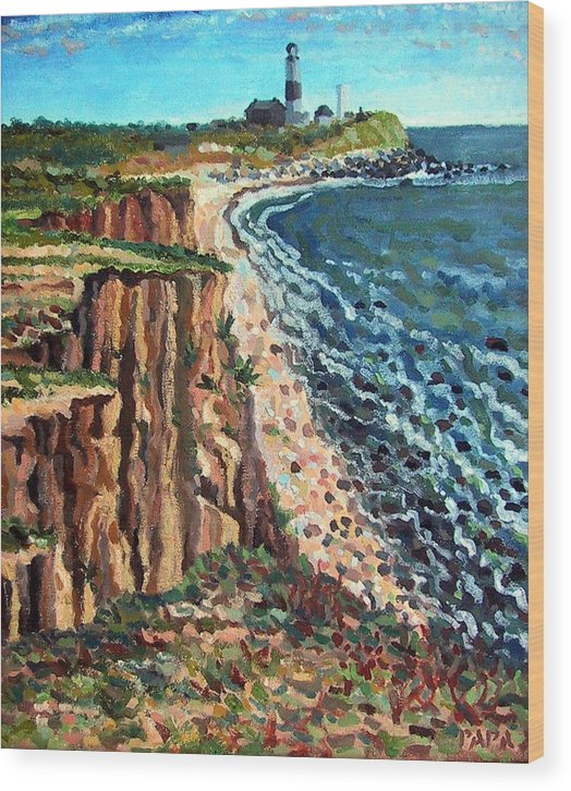 Dunes Wood Print featuring the painting Dunes At Montauk by Ralph Papa