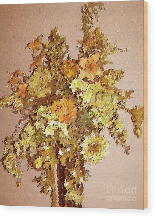Floral Wood Print featuring the print Fall Bouquet by Don Phillips