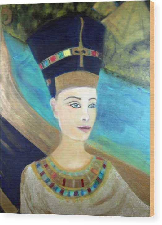 Egypt Wood Print featuring the painting From Darkness Sailed The Golden Barque by Michela Akers