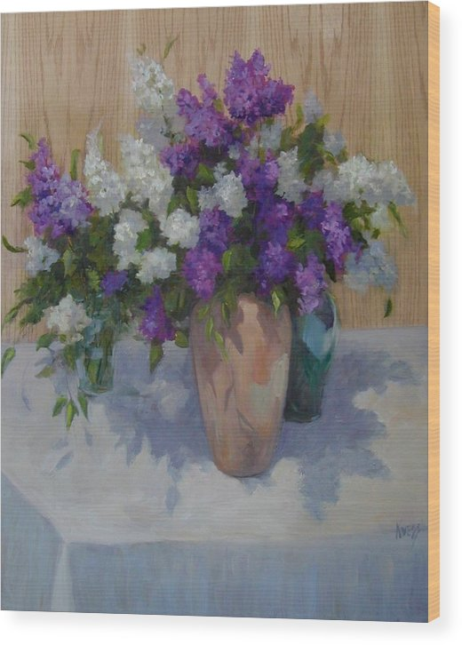 Lilacs Wood Print featuring the painting Lilacs by Patricia Kness