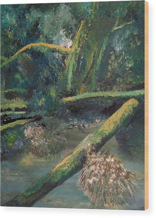Mclane From The Bridge Wood Print featuring the painting Mclane From The Bridge by Richard Beauregard