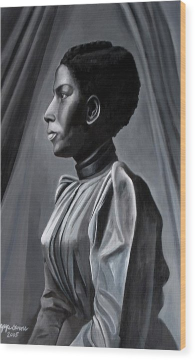 Figurative Wood Print featuring the painting Out Of The Box Woman In Shirtdress by Joyce Owens