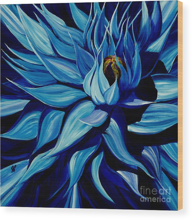 Macro Flower Wood Print featuring the painting Blue Clematis by Julie Pflanzer
