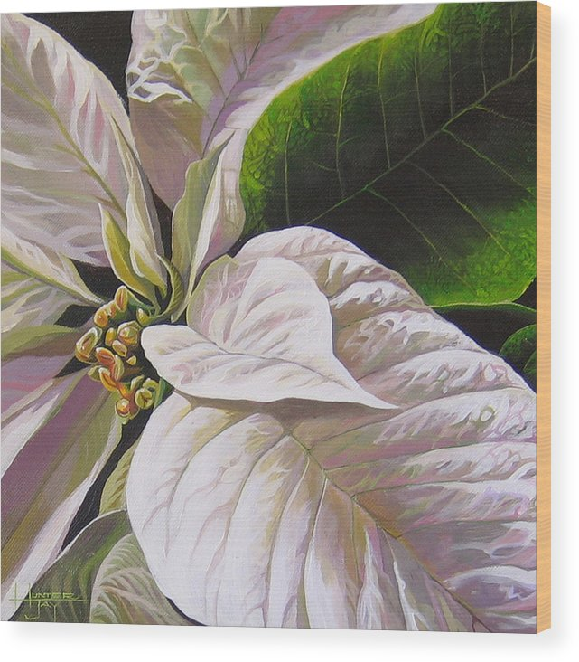 White Poinsettia Wood Print featuring the painting Christmas Eve by Hunter Jay