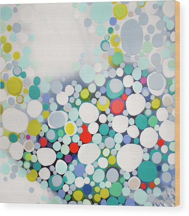 Abstract Wood Print featuring the painting Cross The Line by Claire Desjardins