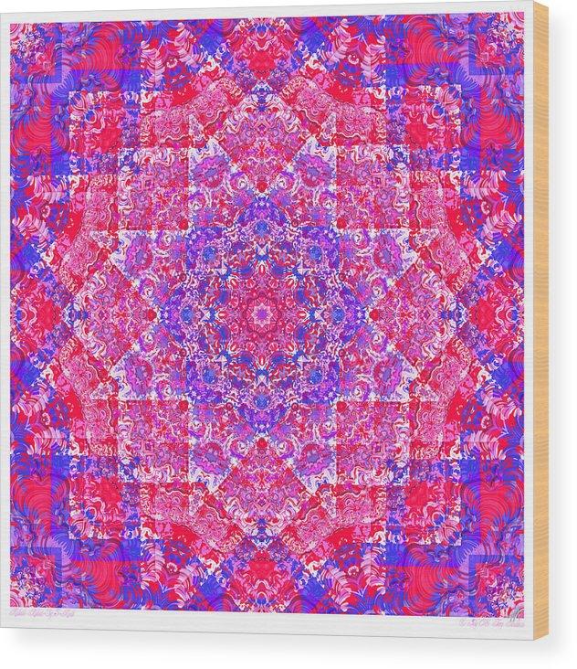 Kaleidoscope Wood Print featuring the digital art kaleido-Rubiat-3D Sq 53d Kwilt by Terry Anderson
