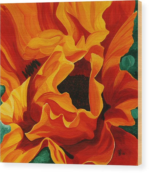 Flower Wood Print featuring the painting Orange Poppy by Julie Pflanzer