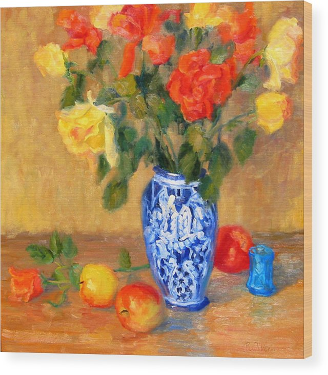 Rose Wood Print featuring the painting Roses In A Mexican Vase by Bunny Oliver