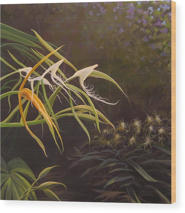 Caribbean Wood Print featuring the painting Wild Orchids by Hunter Jay