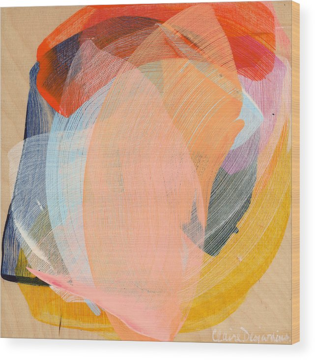 Abstract Wood Print featuring the painting Out Of The Blue 02 by Claire Desjardins
