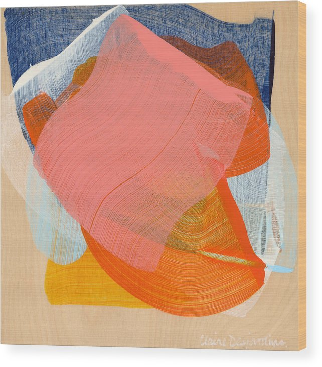 Abstract Wood Print featuring the painting Out Of The Blue 10 by Claire Desjardins