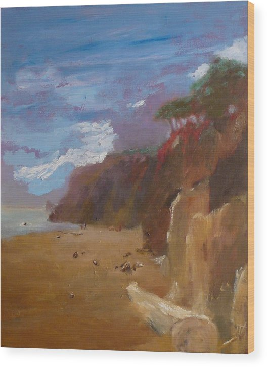 Sea Scape Wood Print featuring the painting Beach In Santa Barbara by Irena Jablonski