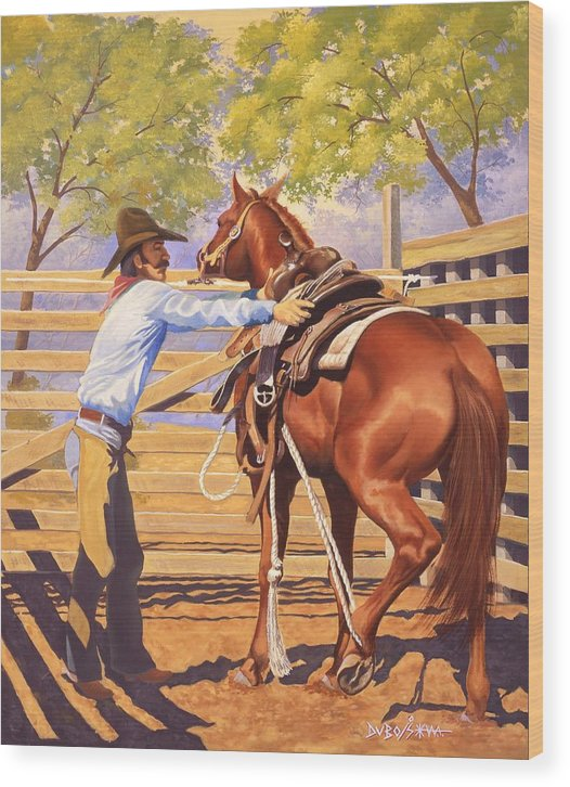Cowboy Wood Print featuring the painting First Saddling by Howard Dubois