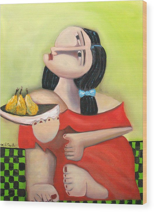 Cubist Cubism Pears Fruit Feet Girl Green Lime Figurative Wood Print featuring the painting Nouna by Niki Sands