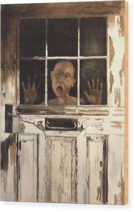 Figurative Wood Print featuring the painting Behind Closed Doors by Jane Simpson