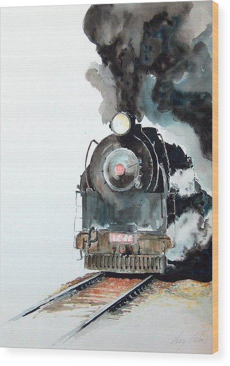 Trains Wood Print featuring the painting Smokin by Greg Clibon