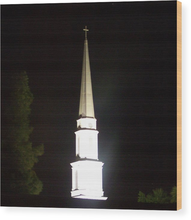 Church Wood Print featuring the photograph The White Spire by Cathy Kaiser