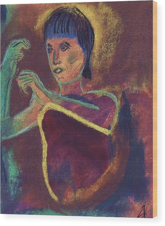 Figurative Wood Print featuring the mixed media Woman With Green Arm by JuneFelicia Bennett