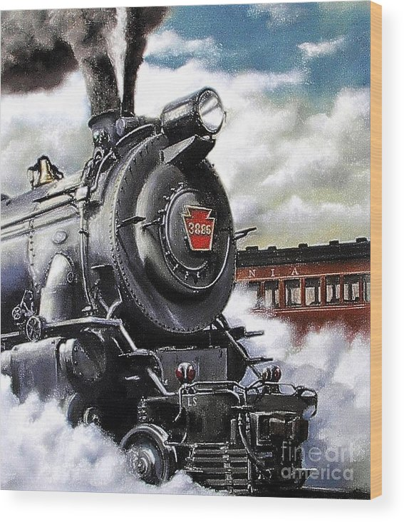 Pennsylvania Railroad Train Painting Railroad Maryland And Pennsylvania Autumn Fall Colors Steam Engine Wood Print featuring the painting Pennsy #3885 by David Mittner