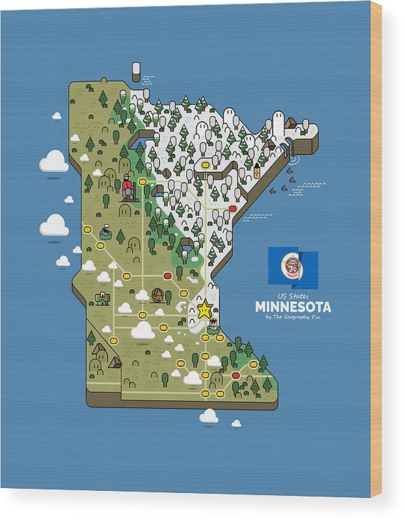 Geography Wood Print featuring the digital art Minnesota Map by The Geography Pin