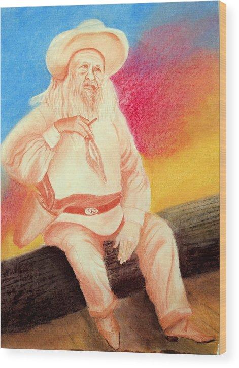 Figure Wood Print featuring the drawing Arizona Philosopher by Jack Hampton