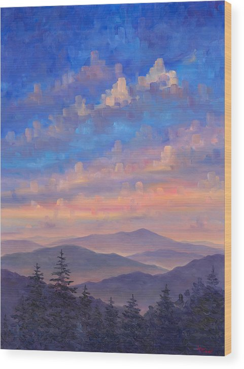 Blue Ridge Parkway Wood Print featuring the painting Parkway Ridges at Dusk by Jeff Pittman