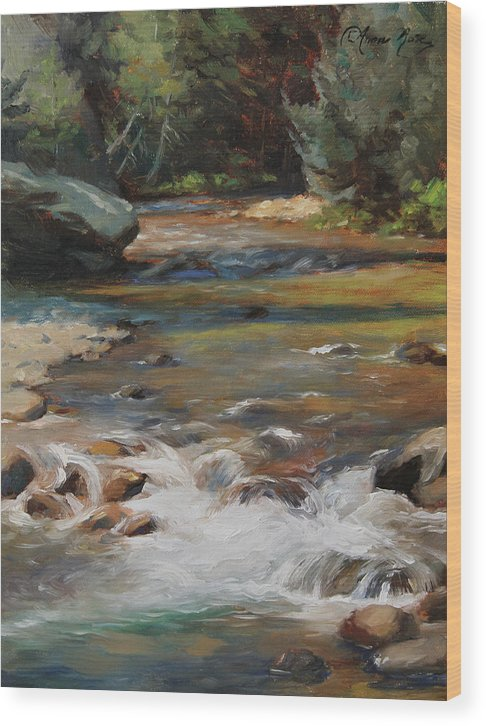 Plein Air Wood Print featuring the painting Mountain Stream by Anna Bain