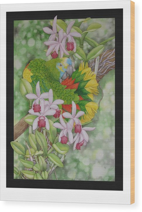 Orchids Wood Print featuring the painting Amazon 3 by Darren James Sturrock