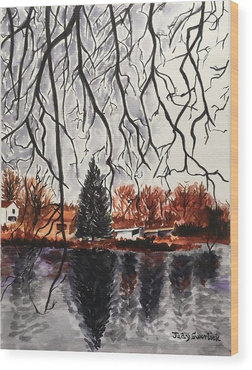 Landscape Wood Print featuring the painting Autumn in Upstate by Judy Swerlick
