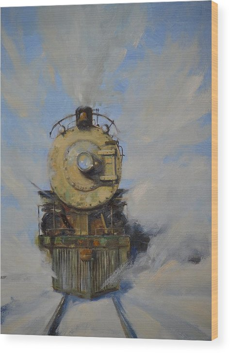 Steam Locomotive Wood Print featuring the painting Cool Running by Greg Clibon