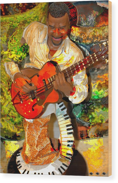 Music Wood Print featuring the digital art Guitar and Keys by Danielle Stephenson