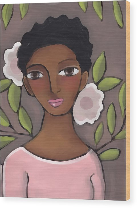 African American Wood Print featuring the painting Pink Flower 2 by Elaine Jackson