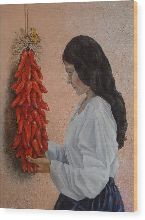 Chiles Wood Print featuring the painting Ristra by Ixchel Amor
