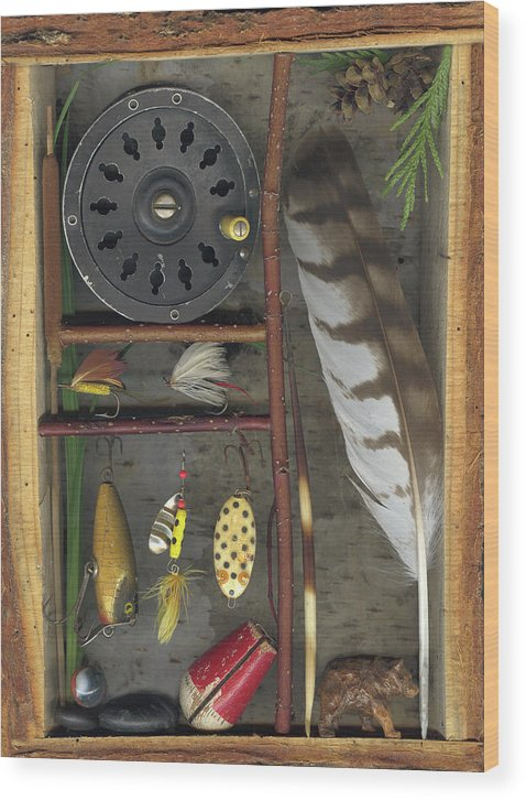 Shadow Box Wood Print featuring the mixed media Shadow Box A by Sandi F Hutchins