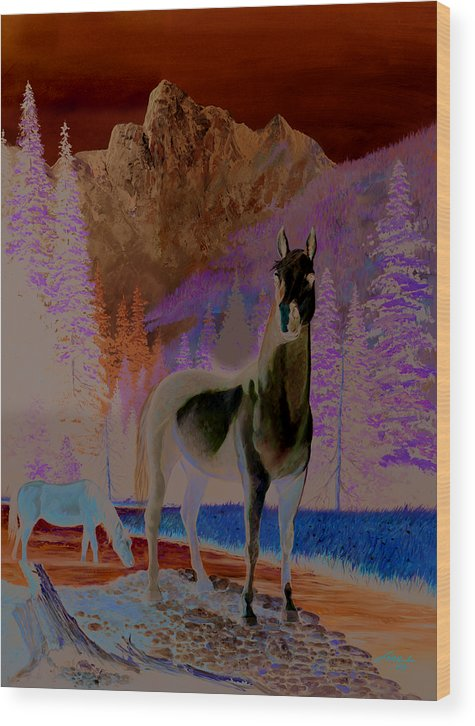 Horse Wood Print featuring the painting The Sentinel by Harold Shull