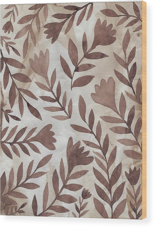 Brown Wood Print featuring the painting Flowing Flowers by Elaine Jackson