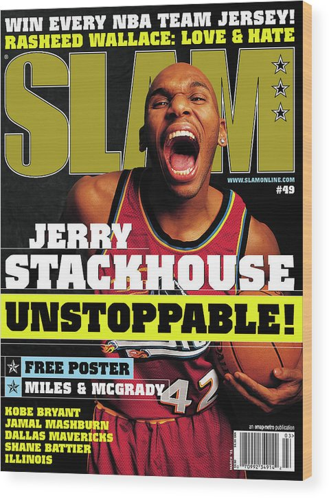 Jerry Stackhouse Wood Print featuring the photograph Jerry Stackouse: Unstoppable! SLAM Cover by Getty Images