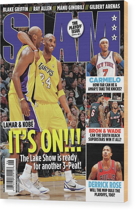 Kobe Bryant Wood Print featuring the photograph Lamar & Kobe: It's On!!! SLAM Cover by Getty Images