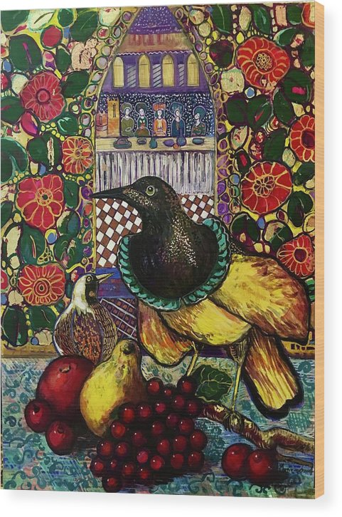 Crow Wood Print featuring the painting Medieval dinner by Marilene Sawaf