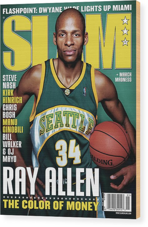 Ray Allen Wood Print featuring the photograph Ray Allen: The Color of Money SLAM Cover by Clay Patrick McBride