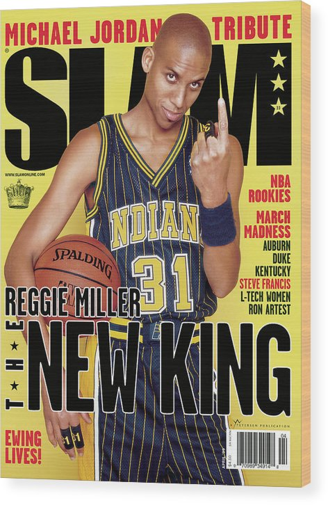 Reggie Miller Wood Print featuring the photograph Reggie Miller: The New King SLAM Cover by Clay Patrick McBride