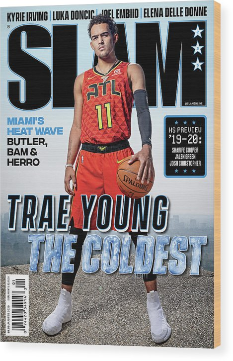 Trae Young Wood Print featuring the photograph Trae Young: The Coldest SLAM Cover by Atiba Jefferson