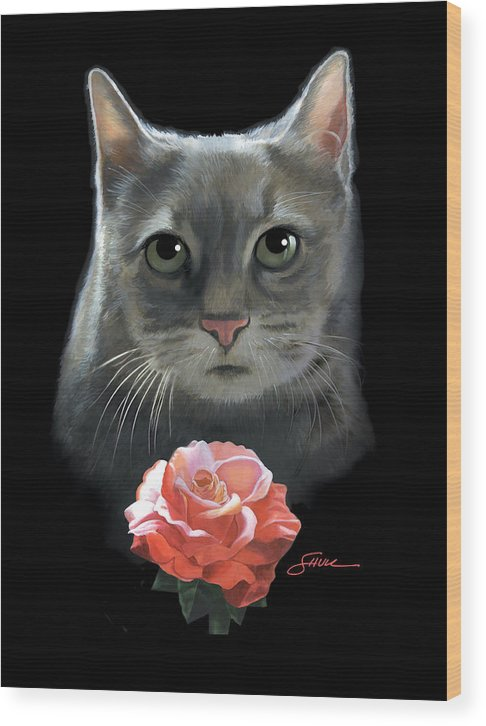 #cat Wood Print featuring the painting Cleo And The Rose by Harold Shull