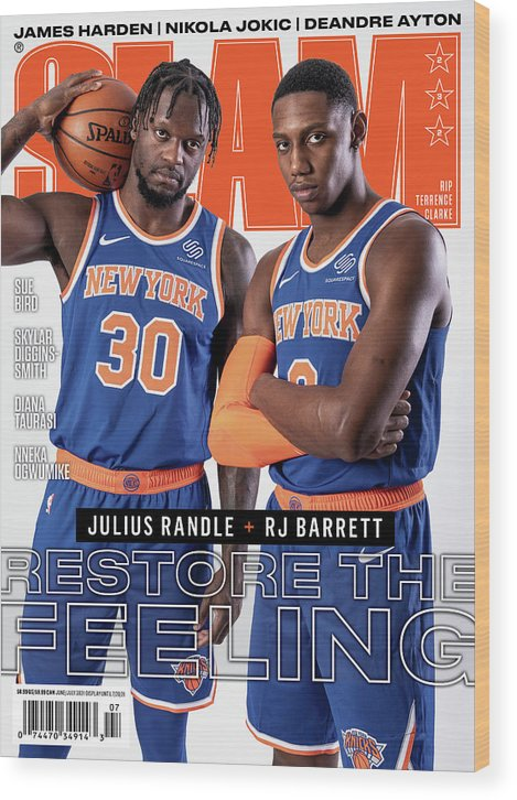 Julius Randle Wood Print featuring the photograph Julius Randle and RJ Barrett Restore the Feeling SLAM Cover by Getty Images
