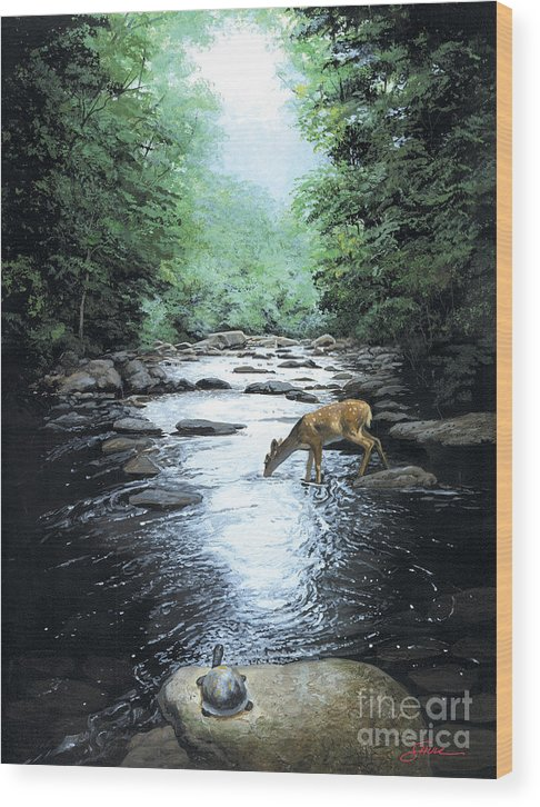 #wildlife Wood Print featuring the painting The Watercooler by Harold Shull