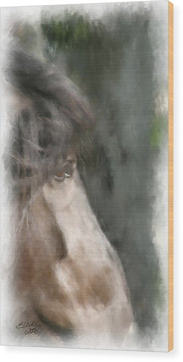 Horse Wood Print featuring the painting Misty Morn by Elzire S