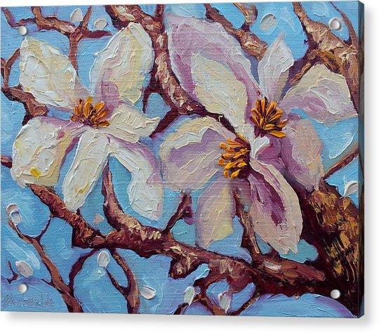 Magnolia Flower Painting Oil On Canvas Fine Art By Ekaterina Chernova  Acrylic Print