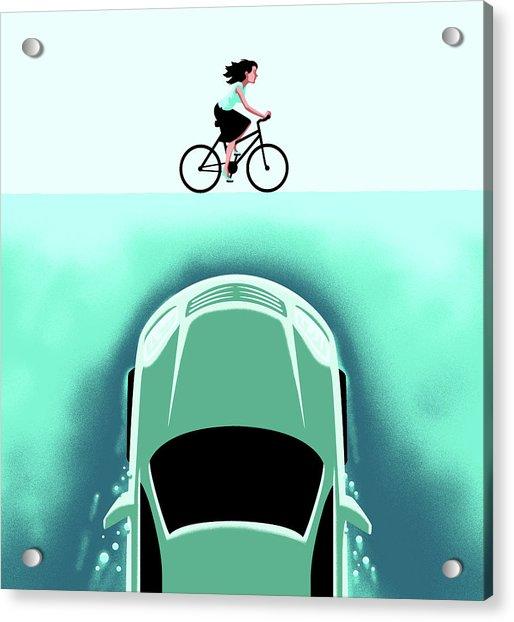 A Car Emerges From The Deep Toward A Bicyclist Acrylic Print