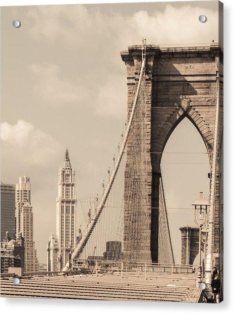 Brooklyn Bridge And Woolworth Building Acrylic Print